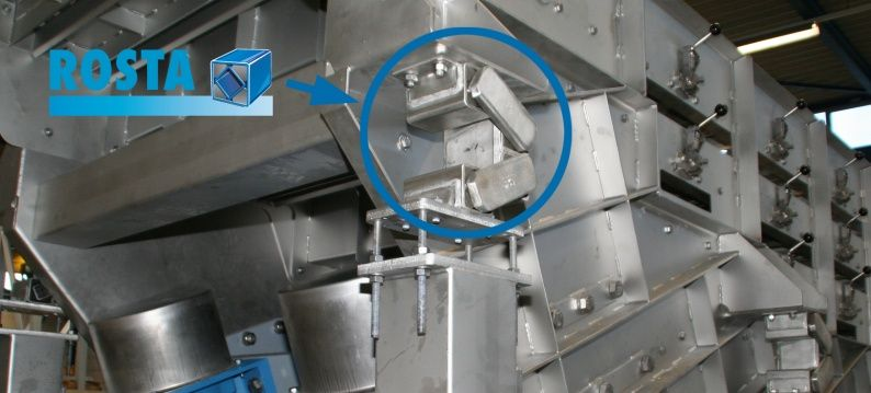Rosta oscillating mountings in shaking conveyor
